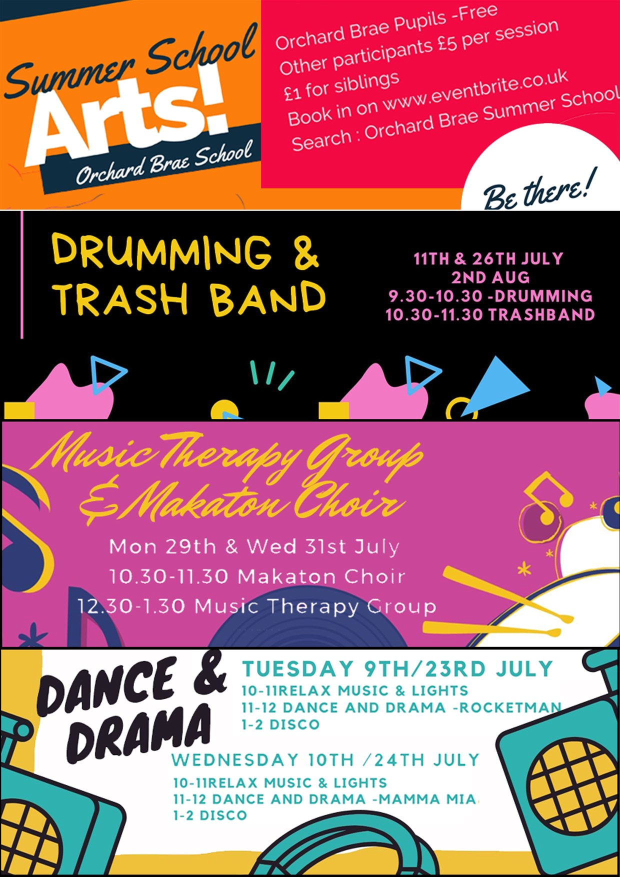 Summer School Arts Clubs at Orchard Brae